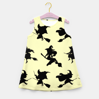 Miniatur Black Flying Witches Broom Silhouette Halloween Gifts Girl's summer dress, Live Heroes