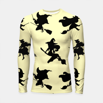Miniatur Black Flying Witches Broom Silhouette Halloween Gifts Longsleeve rashguard , Live Heroes
