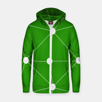 Thumbnail image of Abstract geometric pattern - green and white. Zip up hoodie, Live Heroes