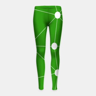 Thumbnail image of Abstract geometric pattern - green and white. Girl's leggings, Live Heroes