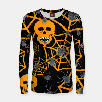 Thumbnail image of Orange Skull Halloween  Women sweater, Live Heroes