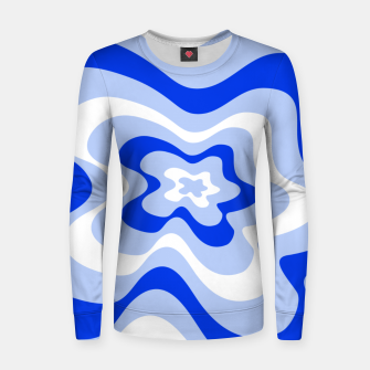 Thumbnail image of Abstract pattern - blue and white. Women sweater, Live Heroes