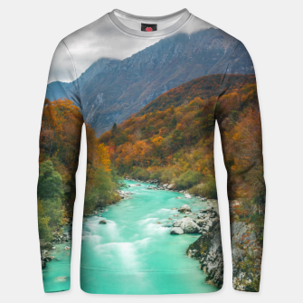 Thumbnail image of Magical river Soča cloudy autumn day Slovenia Unisex sweater, Live Heroes