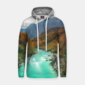 Thumbnail image of Magical river Soča cloudy autumn day Slovenia Hoodie, Live Heroes