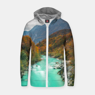 Thumbnail image of Magical river Soča cloudy autumn day Slovenia Zip up hoodie, Live Heroes