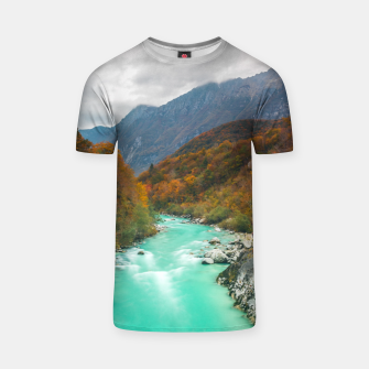 Thumbnail image of Magical river Soča cloudy autumn day Slovenia T-shirt, Live Heroes