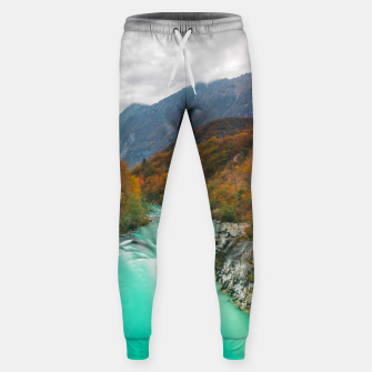 Thumbnail image of Magical river Soča cloudy autumn day Slovenia Sweatpants, Live Heroes