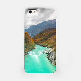Thumbnail image of Magical river Soča cloudy autumn day Slovenia iPhone Case, Live Heroes