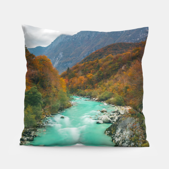 Thumbnail image of Magical river Soča cloudy autumn day Slovenia Pillow, Live Heroes