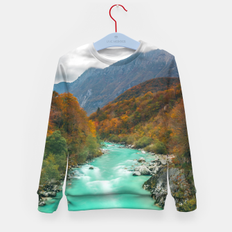 Imagen en miniatura de Magical river Soča cloudy autumn day Slovenia Kid's sweater, Live Heroes