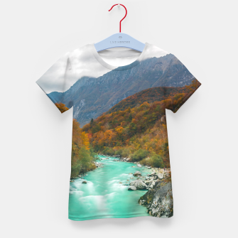 Thumbnail image of Magical river Soča cloudy autumn day Slovenia Kid's t-shirt, Live Heroes
