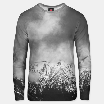 Thumbnail image of Black and white mountains in clouds Unisex sweater, Live Heroes