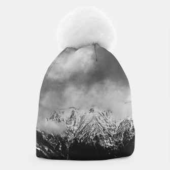 Thumbnail image of Black and white mountains in clouds Beanie, Live Heroes