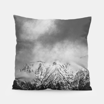 Thumbnail image of Black and white mountains in clouds Pillow, Live Heroes