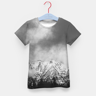 Thumbnail image of Black and white mountains in clouds Kid's t-shirt, Live Heroes