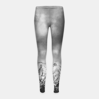 Thumbnail image of Black and white mountains in clouds Girl's leggings, Live Heroes