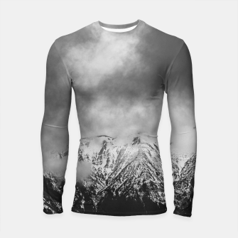 Thumbnail image of Black and white mountains in clouds Longsleeve rashguard , Live Heroes