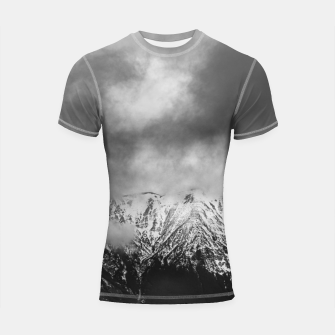 Thumbnail image of Black and white mountains in clouds Shortsleeve rashguard, Live Heroes