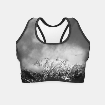 Thumbnail image of Black and white mountains in clouds Crop Top, Live Heroes
