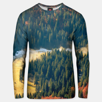 Thumbnail image of Fog rolling on a lonely autumn field Unisex sweater, Live Heroes
