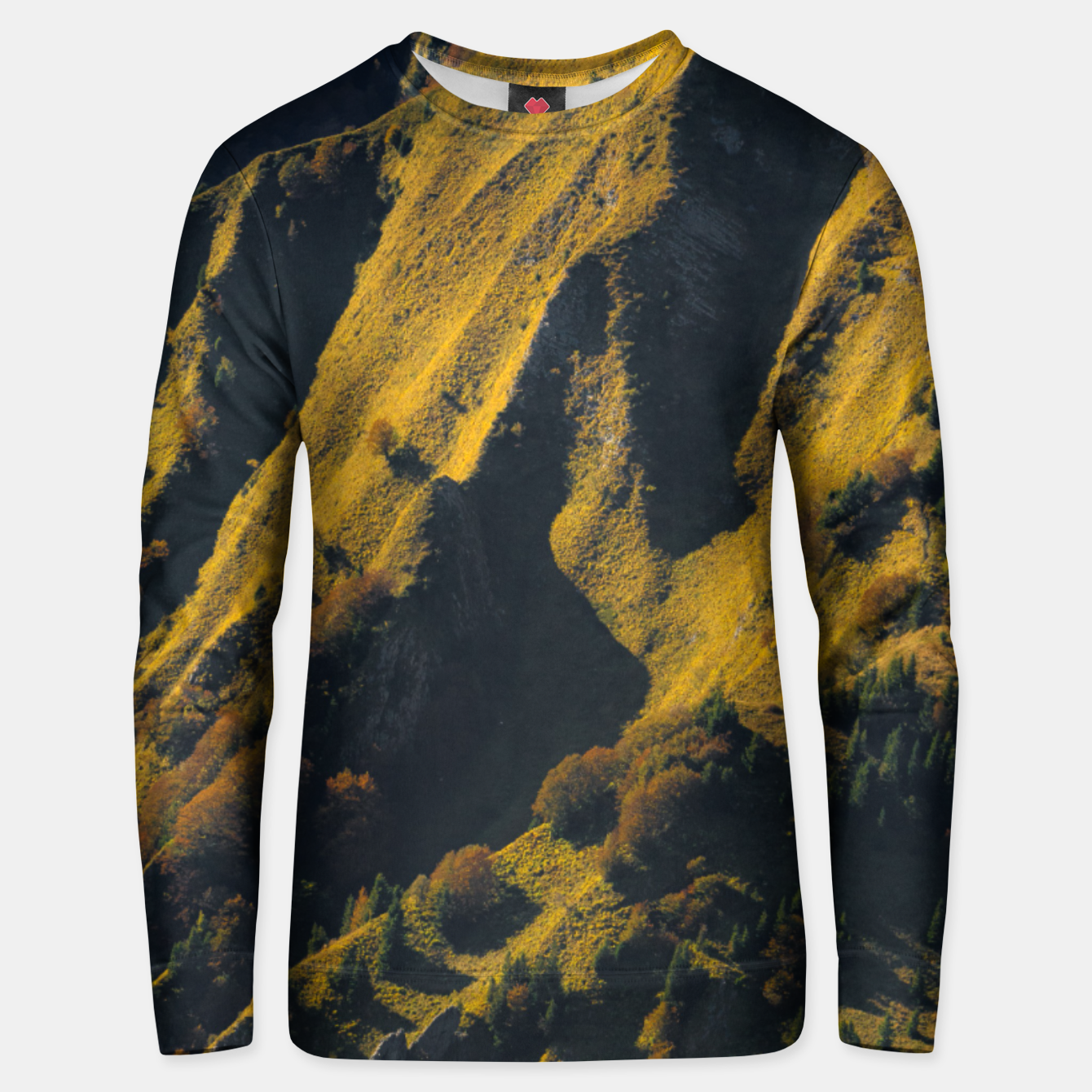Image of Grass covered mountain in autumn Unisex sweater - Live Heroes