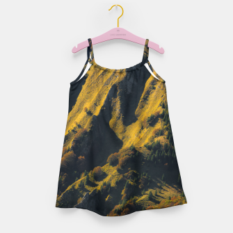 Grass covered mountain in autumn Girl's dress thumbnail image