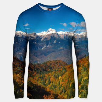 Thumbnail image of Stunning autumn scenery with a view on mountain Triglav, Slovenia Unisex sweater, Live Heroes