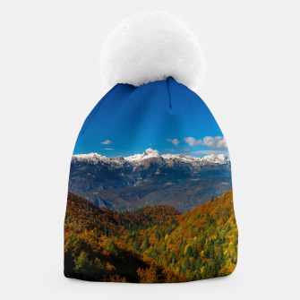 Thumbnail image of Stunning autumn scenery with a view on mountain Triglav, Slovenia Beanie, Live Heroes