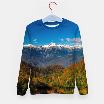 Imagen en miniatura de Stunning autumn scenery with a view on mountain Triglav, Slovenia Kid's sweater, Live Heroes