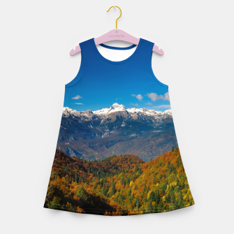 Miniaturka Stunning autumn scenery with a view on mountain Triglav, Slovenia Girl's summer dress, Live Heroes