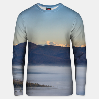 Thumbnail image of Majestic mountain Triglav with fog in valley Unisex sweater, Live Heroes