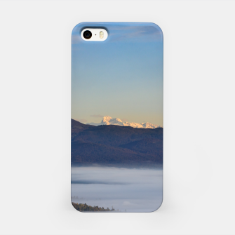 Thumbnail image of Majestic mountain Triglav with fog in valley iPhone Case, Live Heroes