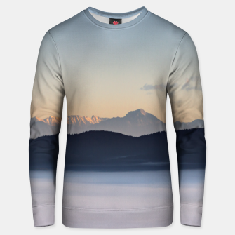 Thumbnail image of Slovenian mountains and morning fog in valley Unisex sweater, Live Heroes