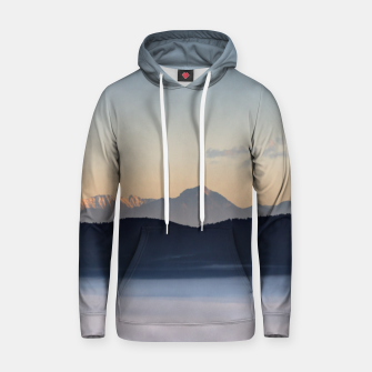 Thumbnail image of Slovenian mountains and morning fog in valley Hoodie, Live Heroes