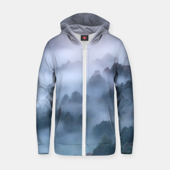 Thumbnail image of Morning fog rolling through trees Zip up hoodie, Live Heroes