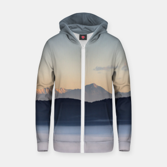 Thumbnail image of Slovenian mountains and morning fog in valley Zip up hoodie, Live Heroes