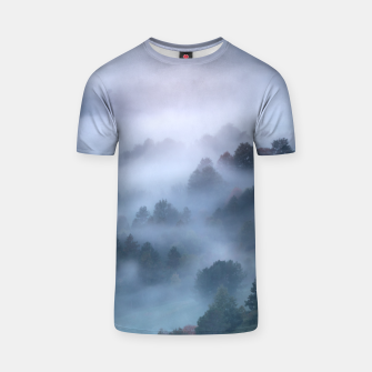 Thumbnail image of Morning fog rolling through trees T-shirt, Live Heroes