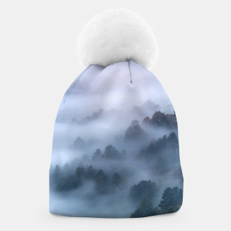 Thumbnail image of Morning fog rolling through trees Beanie, Live Heroes