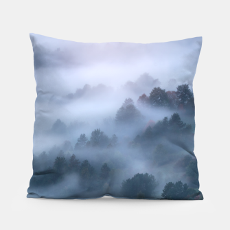 Thumbnail image of Morning fog rolling through trees Pillow, Live Heroes