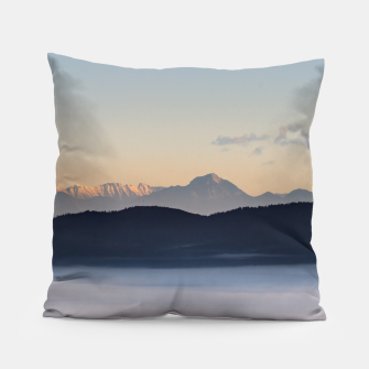 Thumbnail image of Slovenian mountains and morning fog in valley Pillow, Live Heroes