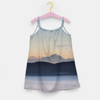 Thumbnail image of Slovenian mountains and morning fog in valley Girl's dress, Live Heroes