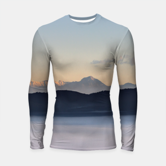 Thumbnail image of Slovenian mountains and morning fog in valley Longsleeve rashguard , Live Heroes
