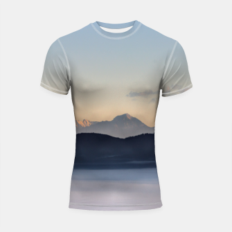 Thumbnail image of Slovenian mountains and morning fog in valley Shortsleeve rashguard, Live Heroes