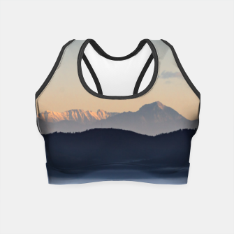 Thumbnail image of Slovenian mountains and morning fog in valley Crop Top, Live Heroes