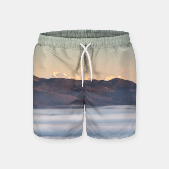 Miniatur Majestic mountain Triglav with fog in valley Swim Shorts, Live Heroes