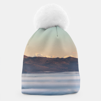 Thumbnail image of Majestic mountain Triglav with fog in valley Beanie, Live Heroes