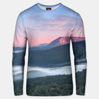 Thumbnail image of Beautiful sunrise view on Nanos from Šilentabor, Slovenia Unisex sweater, Live Heroes