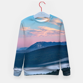 Imagen en miniatura de Beautiful sunrise view on Nanos from Šilentabor, Slovenia Kid's sweater, Live Heroes