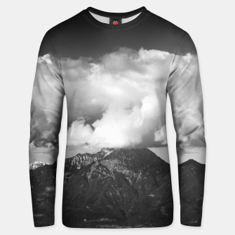 Thumbnail image of Mountain Storžič, Slovenia underneath clouds Unisex sweater, Live Heroes