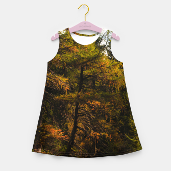 Miniatur Golden European larch in autumn colors Girl's summer dress, Live Heroes